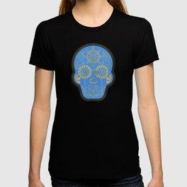 Día de Muertos • Mexican Sugar Skull – Blue & Gold Palette T-shirt