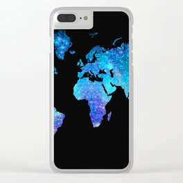 Space World map Clear iPhone Case