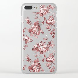Shabby vintage coral burgundy brown roses floral Clear iPhone Case