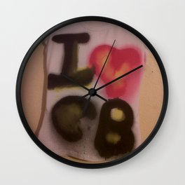 I Love C-B Spray Paint Logo Art Print. Wall Clock