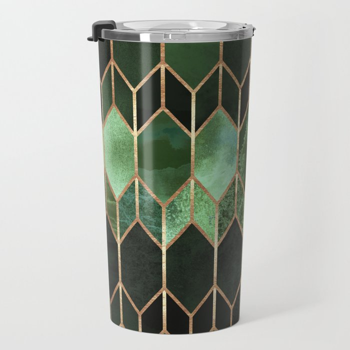 Stained Glass 5 - Forest Green Travel Mug