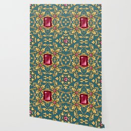 Seamless golden pattern with ruby Wallpaper