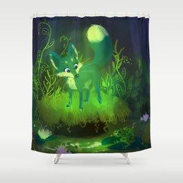 Green Fox Shower Curtain