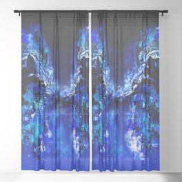 wolves hate monday splatter watercolor blue Sheer Curtain