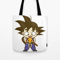 dragonball Tote Bags featuring Young Goku with dragonball by Samtronika