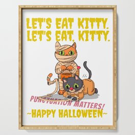 Let's Eat Kitty Punctuation Matters Halloween Edition 02 Serving Tray