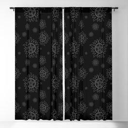 Anti Possession Pattern White Glow Blackout Curtain