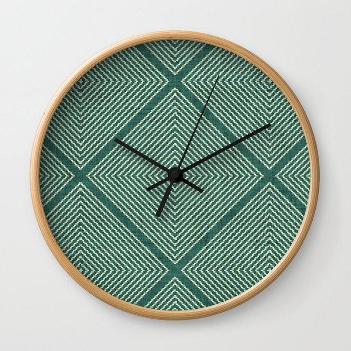 Stitched Diamond Geo Grid in Green Wall Clock