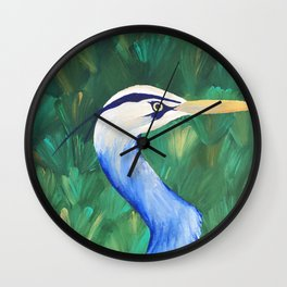 Heron in the Grass Wall Clock