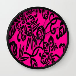 Hot Pink & Black Japanese Leaf Pattern Wall Clock