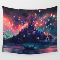 hot air balloons Wall Tapestries featuring The Lights by Alice X. Zhang