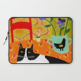 Tuxedo Cat on the Table with Black Bird planter Laptop Sleeve