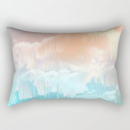 Frozen Sky Glitch - Icy blue & peach #glitchart #decor Rectangular Pillow
