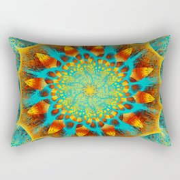 Mandala Flower Green Yellow Art Rectangular Pillow