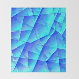 Abstract celestial pattern of blue and luminous plates of triangles and irregularly shaped lines. Throw Blanket