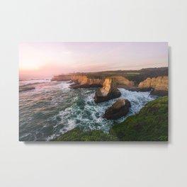 Golden California Coastline - Santa Cruz, California Metal Print
