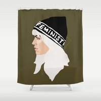 feminist Shower Curtains featuring Feminist (Gold) by Anna McKay