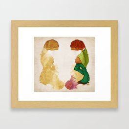 Reflections, ilustrated coffee stains Framed Art Print