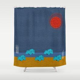 Hippo Parade Shower Curtain