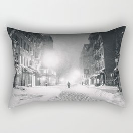 Alone in a Blizzard - New York City Rectangular Pillow