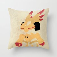 digimon Throw Pillows featuring Rapidmon  by JHTY