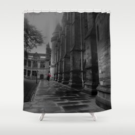 Lady Walking with Red Umbrella in the Rain at University of Glasgow. Shower Curtain