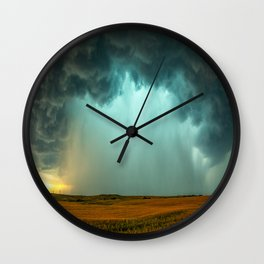Open the Heavens - Panoramic Storm with Teal Hue in Northern Oklahoma Wall Clock