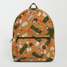 Japanese Ramen Noodles Pattern with Beckoning Cat Backpack