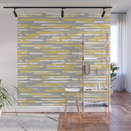 Colorful Stripes, Abstract Art, Yellow and Gray Wall Mural