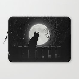 Silent Night Cat and full moon Laptop Sleeve
