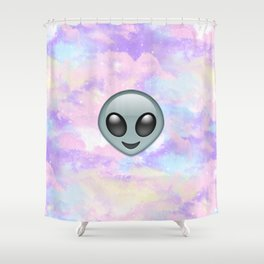 Alien Kawaii Emoji Shower Curtain