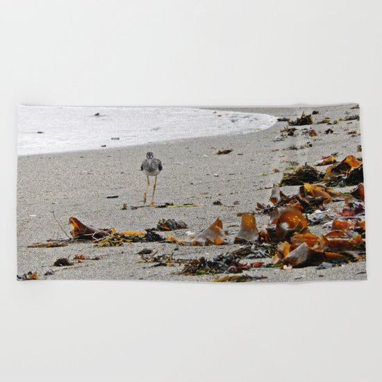 Greater Yellowlegs Strolling on the Beach Beach Towel
