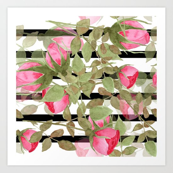 Watercolor . Buds of roses on a striped black and white background Art Print