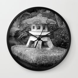 Stone lantern in Japanese Zen Garden Wall Clock