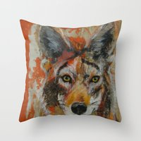 coyote Throw Pillows featuring Coyote by Ali Kirby