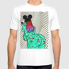 UP AGAINST IT.  (Mouseketeers). White MEDIUM Mens Fitted Tee