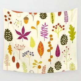 Fall Autumn Nature Forest Bits Wall Tapestry