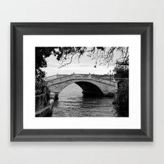 Venice bridge in black and white Framed Art Print
