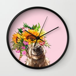 Sunfowers crown Highland Cow in Pink Wall Clock