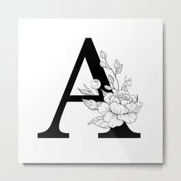 A botanical monogram. Letter initial with peonies Metal Print