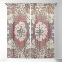 Botanical Embroidery III // Flowery Colorful Red Blue Green Yellow Tan Ornate Accent Rug Pattern Sheer Curtain