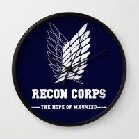 shingeki no kyojin Wall Clocks featuring Recon Corps by rKrovs