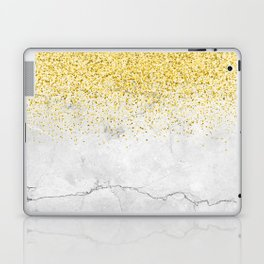 Gold Glitter and Grey Marble texture Laptop & iPad Skin