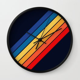 Medussa - Classic Colorful 70s Vintage Style Retro Summer Stripes Wall Clock