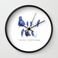 law Wall Clocks featuring Bird Law by grrrenadine