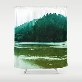Foggy Beach in Oregon Shower Curtain