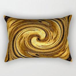 Gold Brown Abstract Sun Rotation Pattern Rectangular Pillow