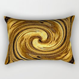 Gold Brown Abstract Sun Rotation Pattern Rectangular Pillow