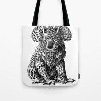 koala Tote Bags featuring Koala by BIOWORKZ