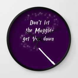 Don't Let The Muggles Get You Down (White & Purple) Wall Clock